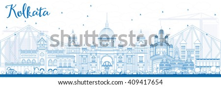 Outline Kolkata Skyline with Blue Landmarks. Vector Illustration. Business Travel and Tourism Concept with Historic Buildings. Image for Presentation Banner Placard and Web Site. - stock vector