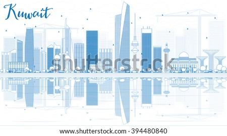 Outline Kuwait City Skyline with Blue Buildings and Reflections. Vector Illustration. Business Travel and Tourism Concept with Modern Buildings. Image for Presentation Banner Placard and Web. - stock vector