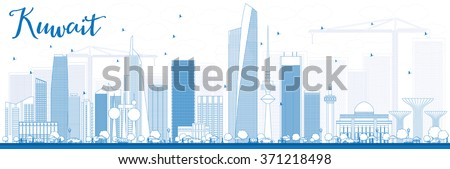 Outline Kuwait City Skyline with Blue Buildings. Vector Illustration. Business Travel and Tourism Concept with Modern Buildings. Image for Presentation Banner Placard and Web Site. - stock vector