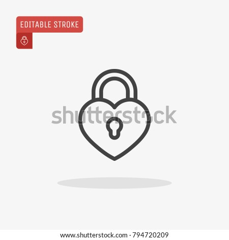 Outline Lock Heart Icon Isolated On Stock Vector 794720209