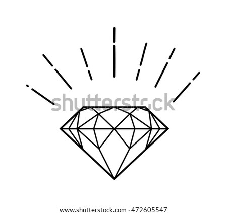 Outline logo with diamond in hipster style isolated on white