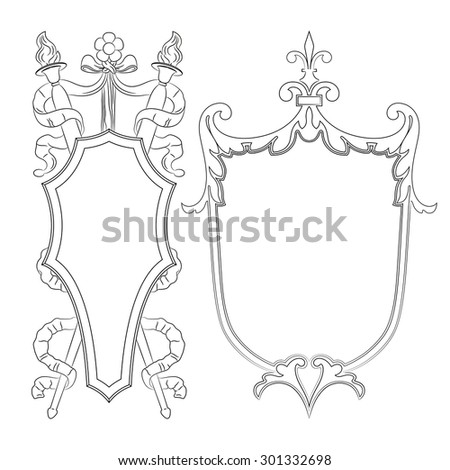 Outline luxury decorative ornate shield, frame and border. Set of coat of arms. Vector file - stock vector