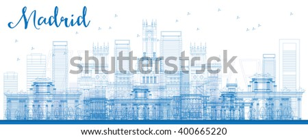 Outline Madrid Skyline with blue buildings. Vector illustration. Business travel and tourism concept with historic buildings. Image for presentation, banner, placard and web site