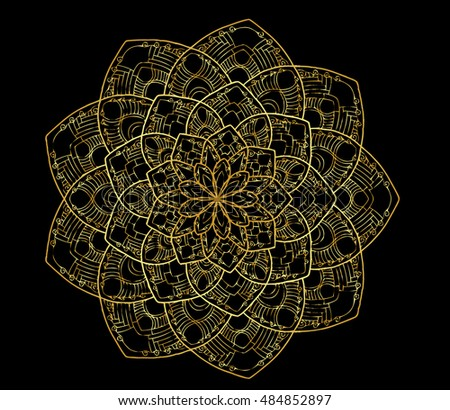 Outline Mandala vector by hand drawing. Decorative round ornament.