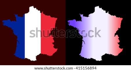 Outline map flag France vector set; gradient, flat - stock vector