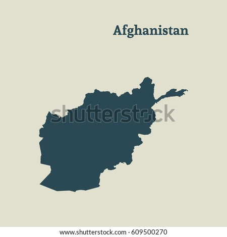 Outline map of Afghanistan. Isolated vector illustration.