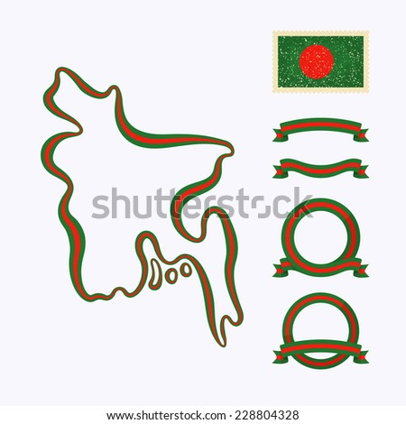 Outline map of Bangladesh. Border is marked with ribbon in national colors. The package contains frames in national colors and stamp with flag.  - stock vector