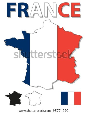 Outline map of France filled with French flag - stock vector