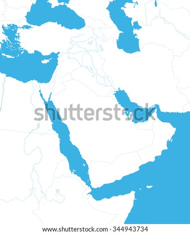 Outline Map of Middle East And Asia - stock vector