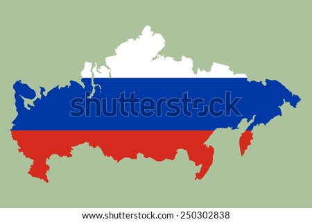 Outline map of Russia painted in the colors of the national flag of Russia: red, blue, white. Patriotic element of design for the Russians subjects. - stock vector