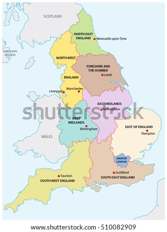 outline map of the nine regions of england