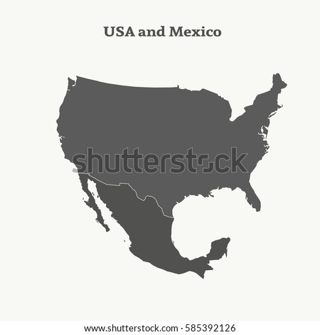 outline map of usa and mexico isolated vector illustration