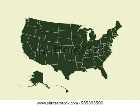 Map Usa Separable Borders Each State Stock Vector 28733251