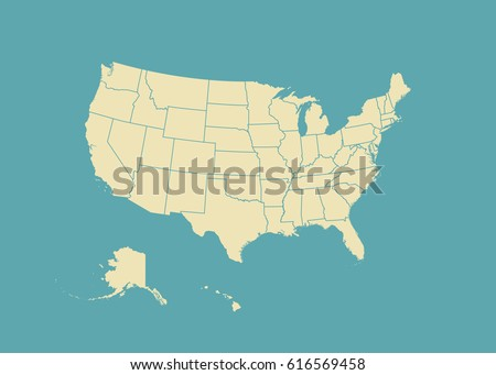 Outline Map Usa Isolated Vector Illustration Stock Vector - Us map with state lines