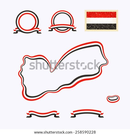 Outline map of Yemen. Border is marked with ribbon in national colors. The package contains frames in national colors and stamp with flag.  - stock vector
