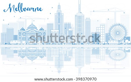 Outline Melbourne Skyline with Blue Buildings and Reflections. Vector Illustration. Business Travel and Tourism Concept with Modern Buildings. Image for Presentation Banner Placard and Web Site. - stock vector