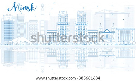 Outline Minsk skyline with blue buildings and reflections. Vector illustration. Business travel and tourism concept with place for text. Image for presentation, banner, placard and web site. - stock vector