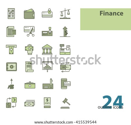 Outline modern vector icons- money, finance, payments. - stock vector