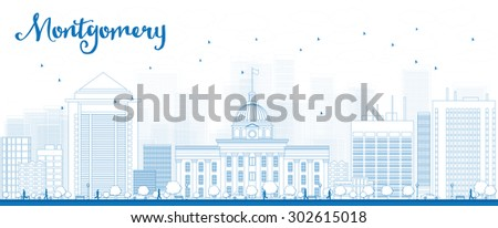 Outline Montgomery Skyline with Blue Buildings. Alabama. Vector Illustration - stock vector