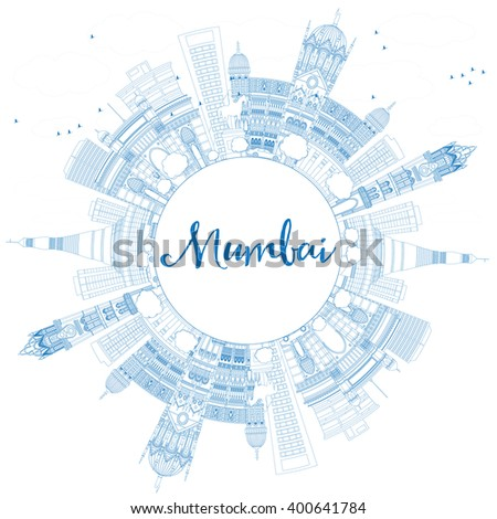 Outline Mumbai Skyline with Blue Landmarks. Vector Illustration. Business Travel and Tourism Concept with Copy Space. Image for Presentation Banner Placard and Web Site. - stock vector