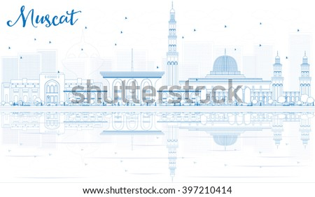 Outline Muscat Skyline with Blue Buildings and Reflections. Vector illustration. Business Travel and Tourism Concept with Historic Buildings. Image for Presentation Banner Placard and Web Site. - stock vector
