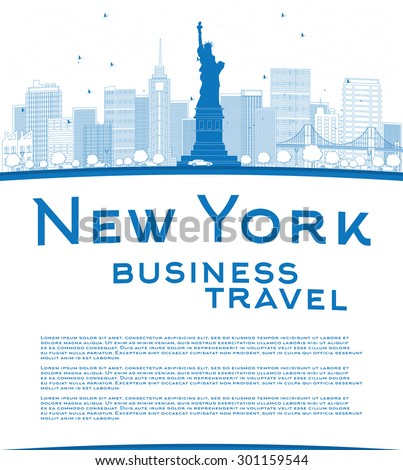 Outline New York city skyline with blue buildings and copy space. Business travel concept. Vector illustration - stock vector