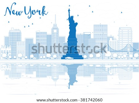 Outline New York city skyline with blue buildings. Vector illustration. Business travel and tourism concept with place for text. Image for presentation, banner, placard and web site - stock vector