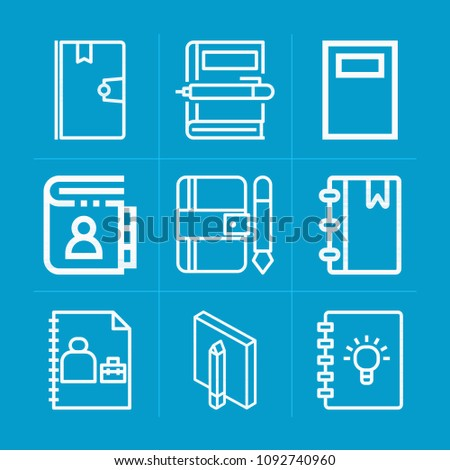 Outline Notebook 9 Vector Icons Set Stock Vector 1092740960