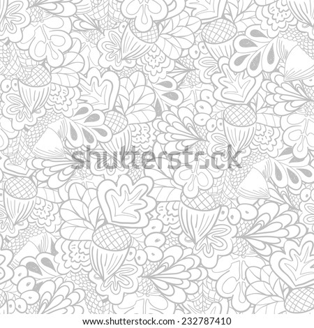 Outline oak elements seamless pattern. Black and white background - stock vector