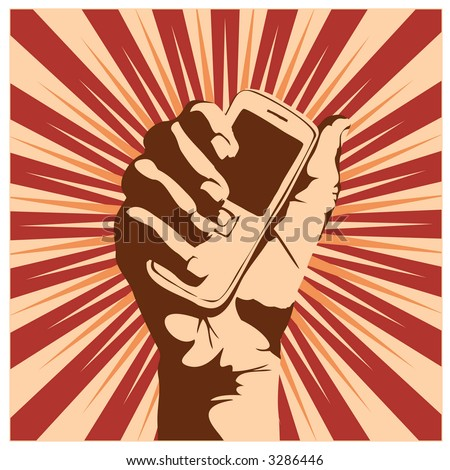 Outline of a hand holding a cell phone.  Vector illustration. - stock vector