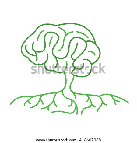Outline of Green Color Brain Tree Illustration