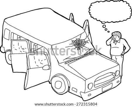 Cartoon Dying Man Wrecked Suv Car Stock Vector