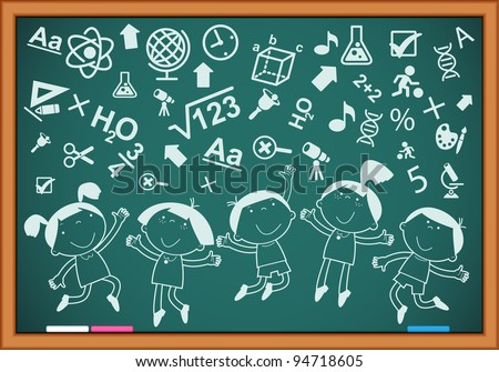 outline of merry children with icons on the blackboard - stock vector