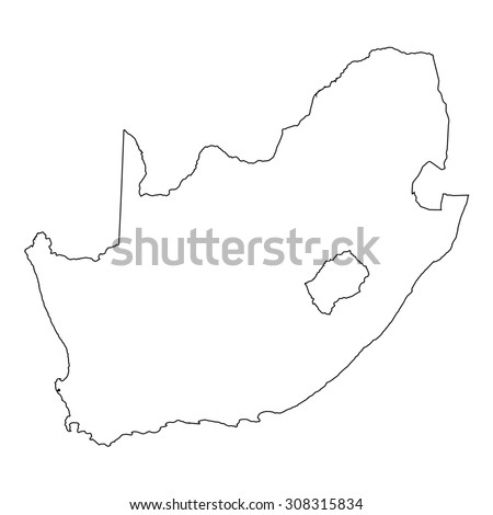 Outline of the country of  South Africa - stock vector
