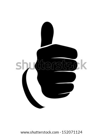 outline of the hand showing thumbs up sign on a white background - stock vector