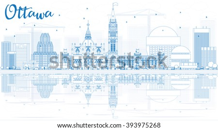 Outline Ottawa Skyline with Blue Buildings and Reflections. Vector Illustration. Business travel and tourism concept with modern buildings. Image for presentation, banner, placard and web site. - stock vector