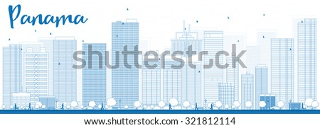Outline Panama City skyline with blue skyscrapers. Vector Illustration. Business travel and tourism concept with modern buildings. Image for presentation, banner, placard and web site. - stock vector
