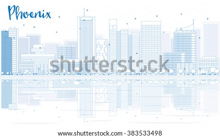 Outline Phoenix skyline with blue buildings and reflections. Vector illustration. Business travel and tourism concept with place for text. Image for presentation, banner, placard and web site. - stock vector