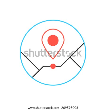 outline pin icon from thin line. concept of creative company emblem, exact coordinates, positioning system, cartography, targeting distant. isolated on white background. flat style modern brand design - stock vector