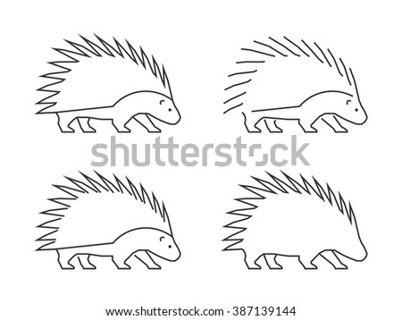 Outline porcupine on a white background. Vector silhouette porcupine. Modern 	 hedgehog icon. - stock vector