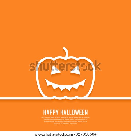 Outline pumpkin with scary face. Minimal abstract Halloween background. Vector illustration.  - stock vector