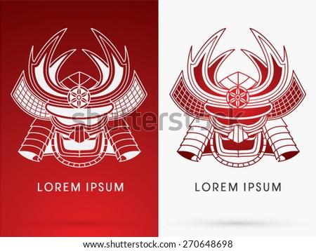 Outline, Samurai mask, Head, Face , logo, symbol, icon, graphic, vector. - stock vector
