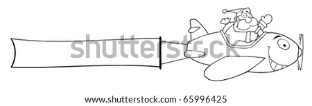 Outline Santa Claus Flying With Christmas Plane And A Blank Banner Attached