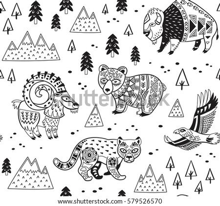 Outline Seamless Pattern Of Mountain Animals With Ethnic Tribal Ornaments Vector Ornamental Illustration In