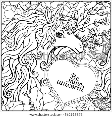 Outline Seamless Pattern With Unicorn Drawing Coloring Page Book For Adult