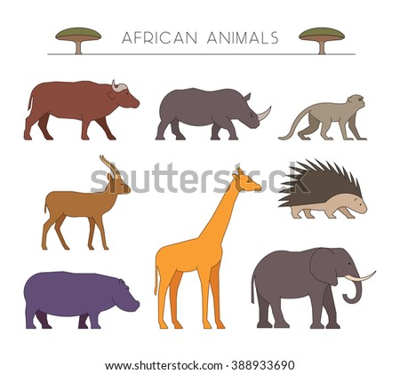 Outline set of african animals. Linear silhouettes african animals. Vector icons african buffalo, rhino and monkey. Outline silhouette gazelle, giraffe and porcupine. Line hippo and elephant. - stock vector