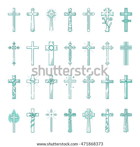 Outline set of christian crosses for modern christian. Outline monochrome vector illustration