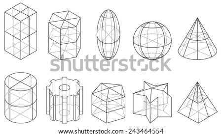 Outline set of geometric shapes, vector illustration