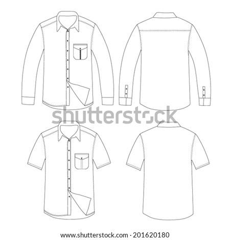 Outline Set of shirt vector - stock vector