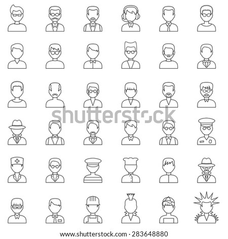 Outline set people icons. Men. Vector - stock vector